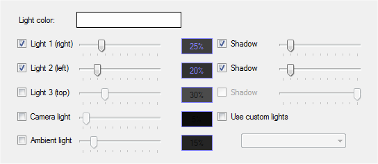 Light settings tab