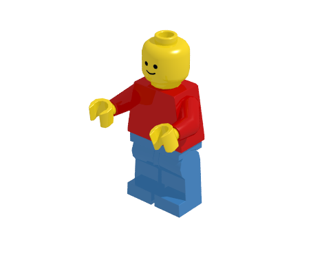 Minifigure illuminated by one light source with 60% ambient light