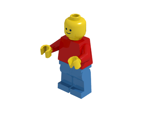 Minifigure illuminated by one light source rendered using radiosity