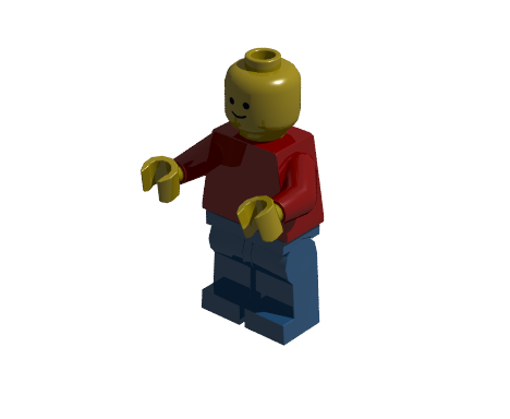 Minifigure illuminated by one light source with 10% ambient light