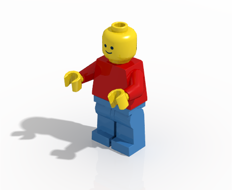 Minifigure rendered using radiosity without HDR image