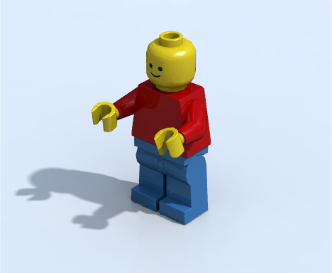 Minifigure rendered using radiosity with HDR image containing outdoor scene with blue sky