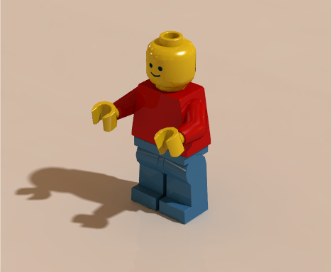 Minifigure rendered using radiosity with HDR image containing indoor scene with many light bulbs