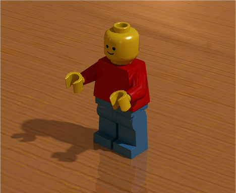Minifigure rendered using radiosity with HDR image containing more color neutral indoor scene