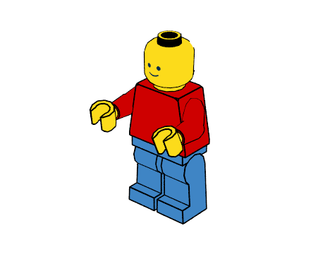 Minifigure with crease and silhouette outlines