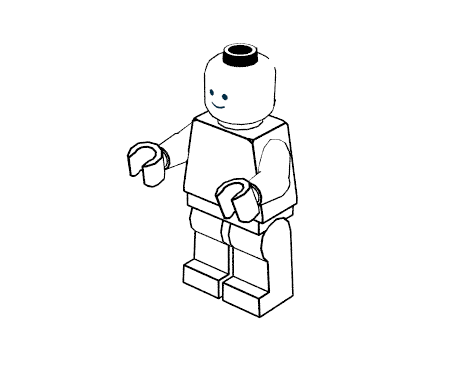 "Minifigure in ""coloring pages"" style"