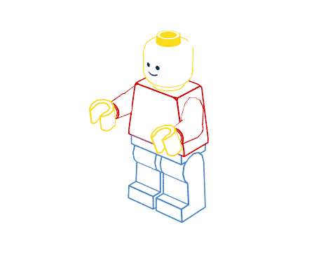 "Minifigure with color outlines in ""coloring pages"" style"
