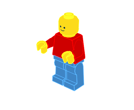 Minifigure with color outlines